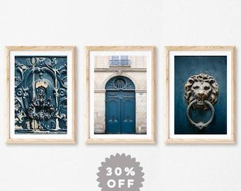 Classic Blue Wall Art Prints, Set of 3 Prints, Fine Art Photography Prints, Gallery Wall Art, Blue Paris Doors, Architecture Print Set