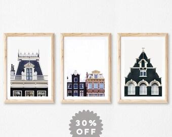 Amsterdam Prints, Set of 3 Prints, Scandinavian Prints, Wall Art Prints Set, Hygge Decor, Minimal Modern Photography Prints, Architecture