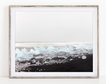 Iceland Print, Winter Landscape Photography, Nordic Nature Photography, Ice on Black Beach Photo, Minimalist Fine Art Print