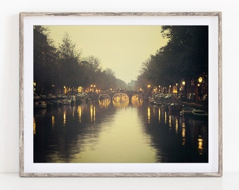 """Amsterdam Canal at Night, The Netherlands, Europe, Travel Photography Print, Wall Art, 11x14 Print """"Nocturne"""""""