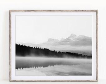 "Black and White Landscape Photography, Landscape Print, Nature Photography, Black and White Prints, Foggy, Mountain Print, Minimal ""Mistful"""