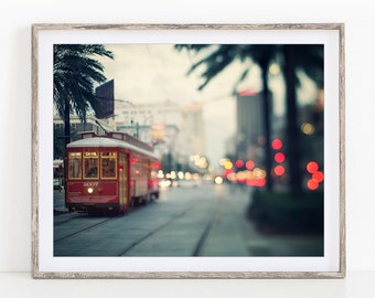 """New Orleans Art, Canal Street Photo, NOLA Streetcar, New Orleans Photography, Wall Art, French Quarter, Travel Print """"NOLA Nights"""""""