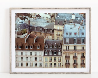 Rooftops of Paris Print, Paris Photography, Cityscape, Large Art, Aerial Photography Print, Horizontal Art Print, Large Wall Art