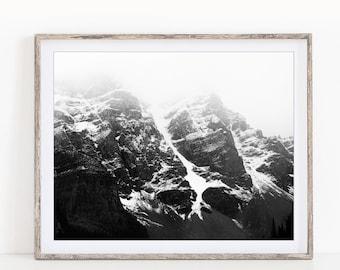 Mountain Print, Winter Landscape Photography, Scandinavian Black and White Print, Nordic Wall Art Print