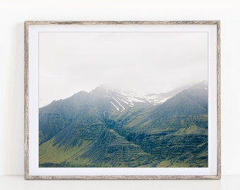 Iceland Photography, Foggy Mountain Print, Rustic Landscape Photography Print, Hygge Nordic Print, Green Wall Art, Nature Photography