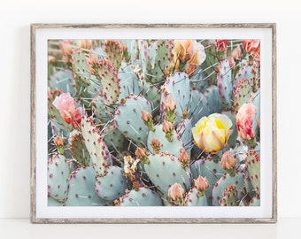 Cactus Print, Cactus Wall Art, Prickly Pear Photo,  Cactus Decor, Flowering Cactus Art Print, Cactus Photography, Gift for Women