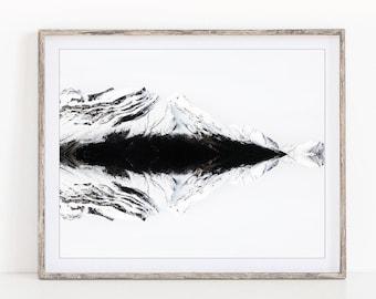 "Winter Landscape Photography, Mountain Art, Black and White Photography, Mountain Print, Minimalist Art ""Northern Reflections"""