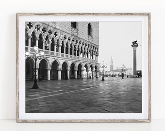 Black and White Venice Print, St. Mark's Square Photograph, Venice Italy Travel Photography