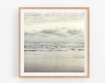 "Muted Minimalist Ocean Photography Print Fine Art Gray Silver Waves Landscape Photography Print Ocean Art Nautical ""Silver Shores"""