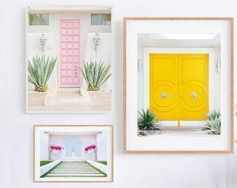 Doors of Palm Springs Art, Mid Century Modern Wall Art, Set of 3 Prints, Photography Prints, Pastel Gallery Wall Set