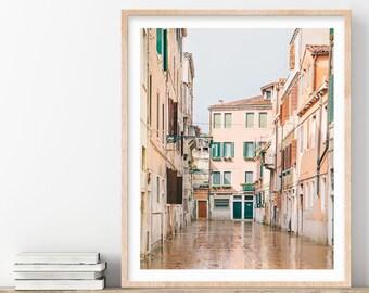 Venice Italy Print, Rain Reflections, Street Photography, Venice Print, Travel Photography, Italian Wall Art, Wall Decor