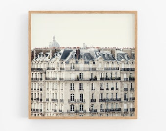 Paris Rooftops and Windows, Paris Photography, White Wall Art, Paris Decor, Square Architecture Print, 8x8, 12x12
