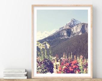 Mountain Wildflowers Print, Mountain Print, Banff, Landscape Photography Print, Nature Print, Living Room Wall Art