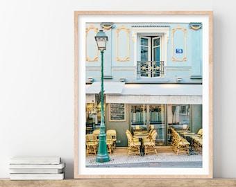 Paris Cafe Photo, French Kitchen Decor, Paris Wall Art, Gold, Blue, French Wall Decor, Travel, 5x7 to 20x24 Paris Photography Print