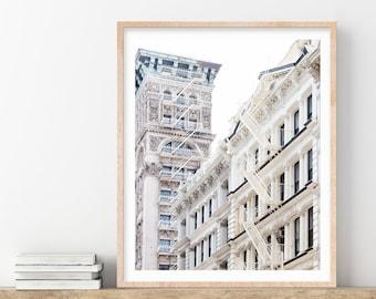 SoHo Photo, New York Print, New York City Photography Print, White Wall Art Prints, Travel, NYC Cast Iron Architecture