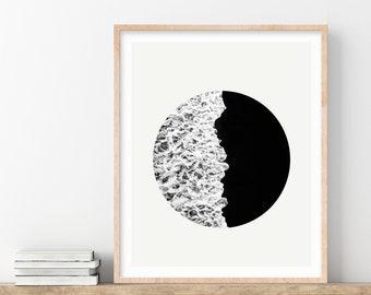 Ocean Print, Minimalist Black and White Print, Zen Yin Yang Waves Wall Art, Japandi Nature Photography, Ocean Wall Art