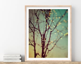 """Fairy Lights in Tree, Fine Art Photography Print, Large Wall Art Print, Abstract Art, Tree Print, Green Wall Decor """"Sparkle and Dance"""""""