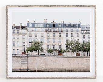 Paris Print, Seine River View, Paris France, Travel Photography, Neutral Wall Art, 5x7 to 20x24 Photo