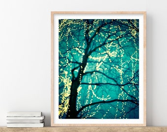 Fairy Lights, Winter Tree Photography Print, Turquoise Blue Wall Art, Wall Decor, Fine Art Photography
