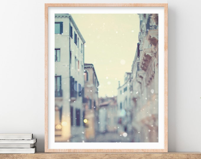Venice Italy Wall Art, Venice Photography Print, Venice Wall Art, Winter Snow, Fine Art Photography, Vertical Wall Art, Travel Photo