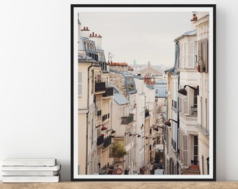 Paris Print, View of Cityscape from Montmartre, Paris France, Wall Art, Travel Photography Print, Neutral Wall Decor, 8x10 Photo