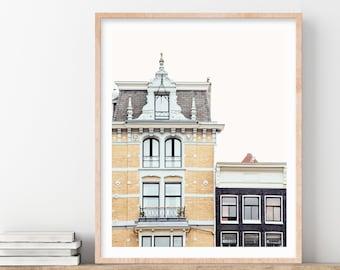 Amsterdam Art Print, Yellow Canal House, Wall Art, Scandinavian Wall Decor, Home Decor, Amsterdam Print, City Travel Photography