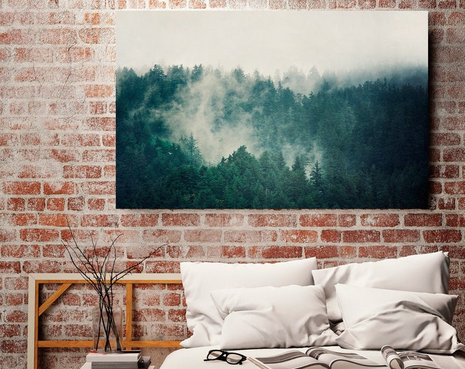 Forest Canvas Print, Large Wall Art, Canvas Art, Landscape Photography, Foggy Forest, Teal Wall Decor, Home Decor, Living Room Wall Art