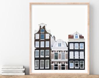 Amsterdam Art, Cute Canal Houses, Wall Art Prints, Amsterdam Print, Netherlands Photography
