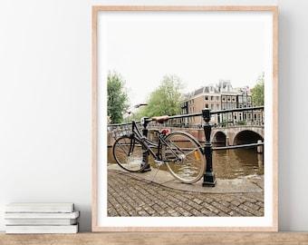 Amsterdam Print, Bicycle on Bridge Photo, Travel Photography, Amsterdam Art Print, Wall Art, Neutral Wall Decor