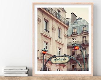 Metro Sign, Paris Photography, Paris Wall Art, Art Nouveau Architecture Print, Paris Print, Vintage Guimard - Metropolitain