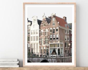 Amsterdam Print, Netherlands, Wall Art Prints, Canal Houses Photo, Travel Decor, Photography Print