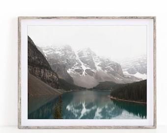 Mountain Print, Landscape Photography, Moraine Lake Banff, Nature Print, Horizontal 8x10, 11x14, 12x16, 16x20, 20x24 Print