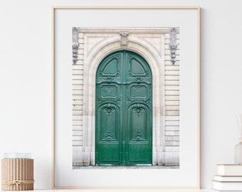 Paris Print, Green Door Photo, France Travel Photography Print, City Prints, Europe Wall Art, Paris Wall Art