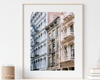 SoHo Fire Escapes Photo, New York Print, New York City Photography, Pink Blue Pastel Wall Art Print, Travel NYC Print