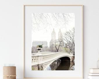 Bow Bridge in Central Park Photo, New York Print, Travel Photography, Neutral NYC Wall Art, City Art Print