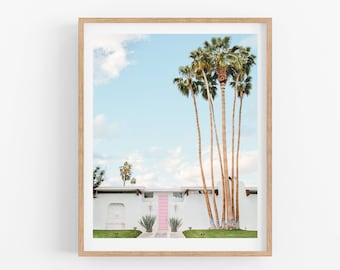 Palm Springs Art, House with Pink Door, Mid Century Modern, Art Print, Wall Art, California Travel Photography Print
