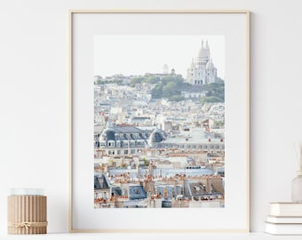 Paris Print, Montmartre and Sacre Coeur City View, Paris Art, Travel Print, Paris Photography, Neutral Wall Art