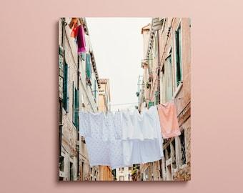 Venice Italy Canvas Wall Art, Laundry Room Decor, Hanging Laundry Photo, Large Art, Venice Canvas Print, Italy Photography