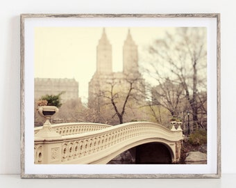 NYC Art Print, Large Wall Art, New York City Photography Print, Central Park Bow Bridge Photo, New York Print, Beige, 11x14 Print