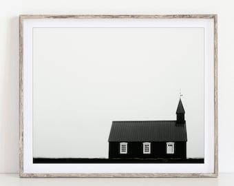 Iceland Landscape Photography, Modern Farmhouse Decor, Budir Chapel Photo, Black and White Print, Minimalist Wall Art