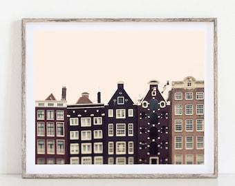 Canal Houses, Amsterdam Photography, Large Wall Art Print, Scandinavian Print, Travel Photography Print, Fine Art Photography
