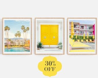 Palm Springs Wall Art, Set of 3 Prints, Mid Century Modern Art Prints, City Travel Photography, Yellow Wall Art, Gallery Wall Set