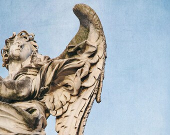 """Stone Angel Statue in Rome, Italy Photography, Angel Wings Wall Decor, Living Room Art, Fine Art Photography """"Calling All Angels"""""""