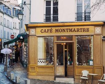 Cafe Montmartre, French Kitchen Decor, Paris Photography, Mother Gift, Paris Decor, Parisian Bistro, Sacre Coeur, Large Wall Art