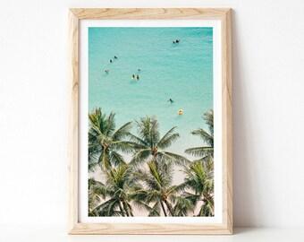 Aerial Beach Photography, Hawaii Beach Print, Blue Wall Art, Vertical, Ocean Photography Print, Beach Decor, Large Wall Art