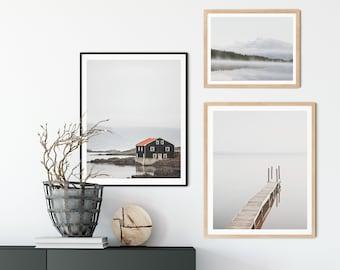 Landscape Prints, Gallery Wall Art, Set of 3 Prints, Minimalist Wall Art, Nordic Landscape Photography, Fine Art Prints
