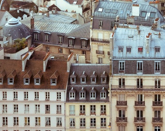 Rooftops of Paris Print, Paris Photography, Pastel Art Print, Aerial View, Cityscape, Pastel Wall Art - Rooftops and Love Songs