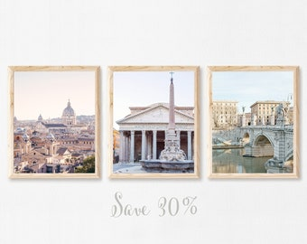 Rome Gallery Wall Set, Set of 3 Prints, Sunrise in Rome Italy Wall Art, Travel Photography Prints, Pastel Italian Wall Decor