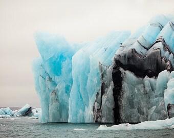 Iceland Photograph, Iceberg in Glacier Lagoon, Icelandic Nature, Blue Art, Large Wall Art, Winter, Landscape Photography Print