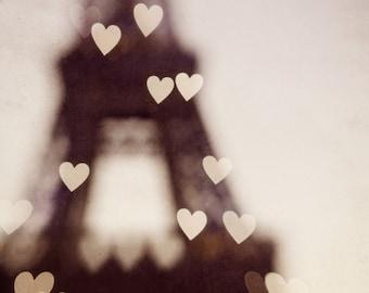 "Romantic Lights on Eiffel Tower, Paris Photography, Paris Wall Art, Paris Bedroom Decor, Paris Decor, Pink Art, 11x14 Print ""City of Love"""